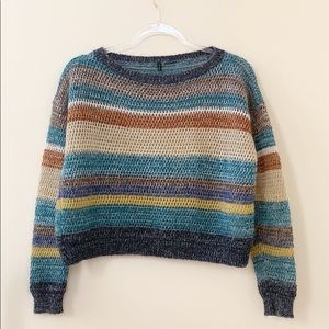 Benetton Slightly Cropped Multicolored Sweater S